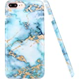 iPhone 8 Plus Case,iPhone 7 Plus Case, LUOLNH Blue and gold Marble Design Slim Shockproof Flexible Soft Silicone Rubber TPU Bumper Cover Skin Case for iPhone 8 Plus /iPhone 7 Plus