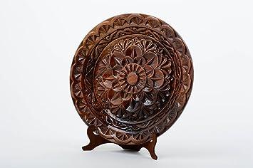 Amazon.de: Holzteller rund handmade Geschirr aus Holz Wohnzimmer ...