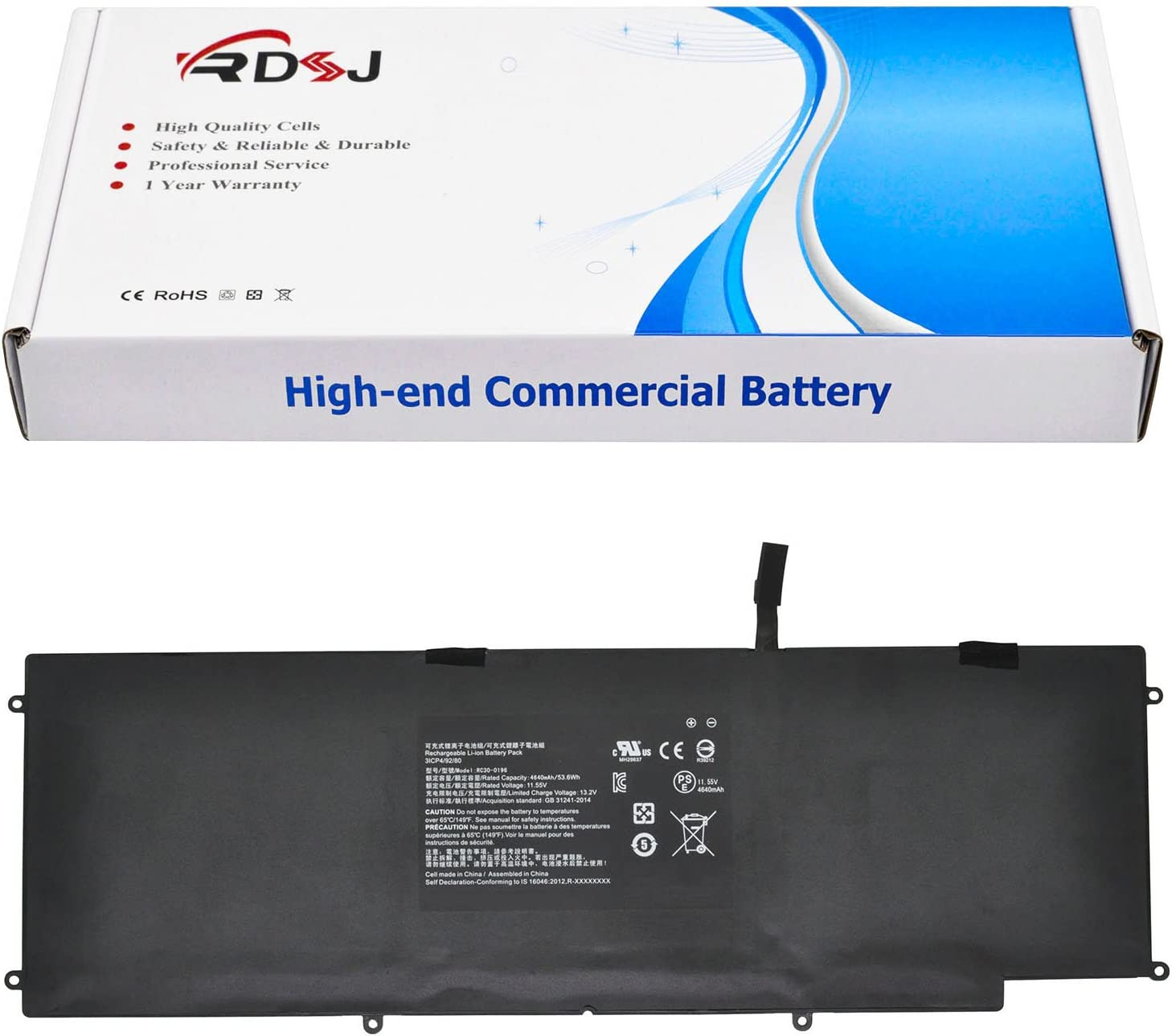 RC30-0196 Laptop Battery Compatible Razer Blade Stealth 2016 v2 i7-7500U 3ICP4/92/80 RZ09-01962E52 RZ09-01962E53 RZ09-01962E20 RZ09-01962E10 RZ09-01962E12 RZ09-01962W10 11.55V 53.6Wh