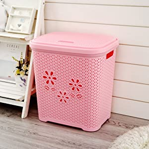 Rectangle Plastic Laundry Hamper,Clothes Storage Basket Toy Organizers Bin Faux Rattan Laundry Basket with Lid-Pink L44 X W33 X H47cm