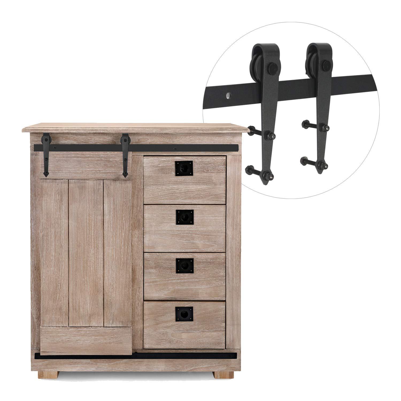 "3-1/4ft Cabinet Barn Door Hardware Kit - Mini Sliding Door Hardware - for Cabinet TV Stand Wardrobe - Simple and Easy to Install - Fit Up to 20"" Wide Door Panel (Mini Arrow Shape Hangers)"