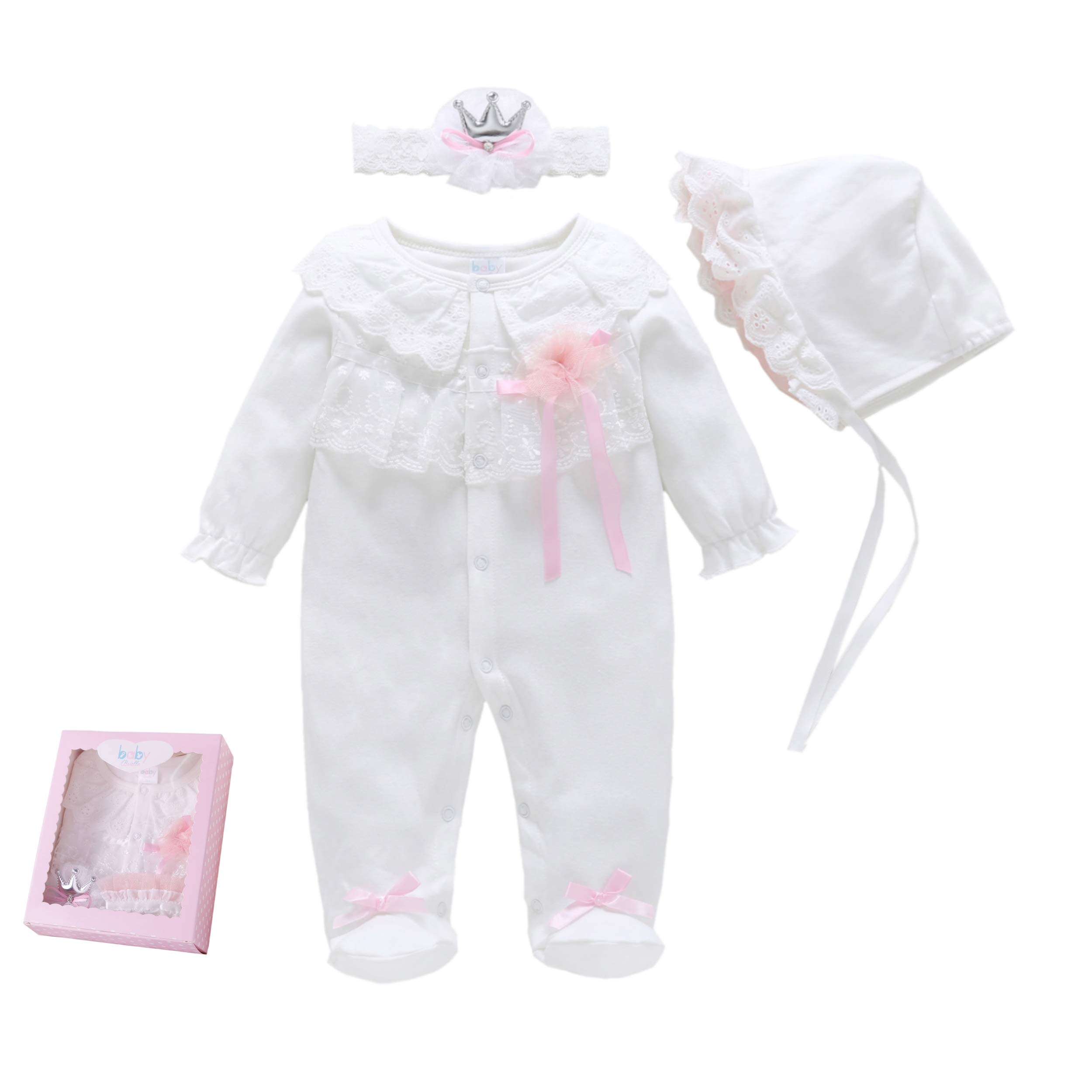 Baby Brielle Layette Onesie with Matching Hat, Headband and Socks in Box Registry Must Haves Gift Set for Girls (Pink Bow, 3M) by Baby Brielle