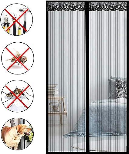COUEO Mosquitera MagnéTica, Mosquitera Puerta Magnetica Verano Cortina MagnéTica para Puertas Correderas/Balcones/Terraza - Negro 95x215cm: Amazon.es: Hogar