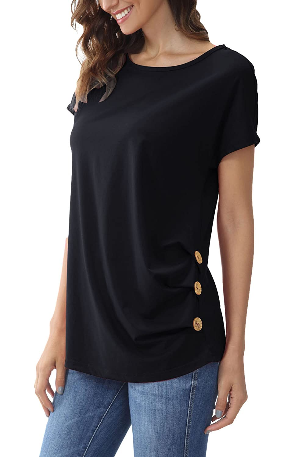 0b434d2af Material:60%polyester, 35% Cotton, 5% Spandex,soft, lightweight,skin touch.  Pull On closure. Features: short sleeve t shirt, scoop neck tee top, button  down ...