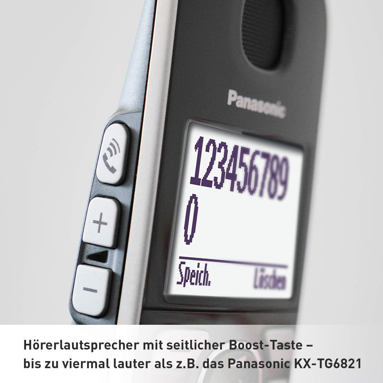 Tel/éfono DECT, Terminal inal/ámbrico, Altavoz, 150 entradas, Identificador de llamadas, Negro, Plata Panasonic KX-TGE520GS Tel/éfono