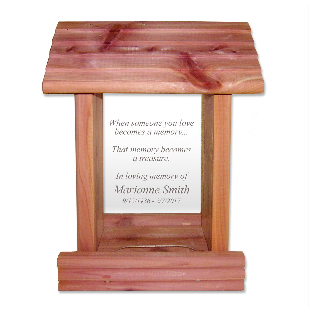 Custom Laser Engraved Sympathy Gift Memorial Bird Feeder Cedar Wood Made in USA and Includes Your Personalized In Loving Memory Inscription