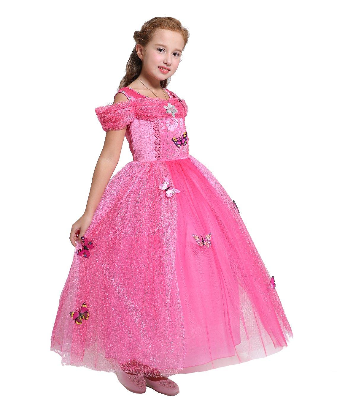 Dressy Daisy Girls' Princess Aurora Costume Princess Dress Halloween Fancy Dress up Size 6X/8