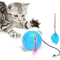 Wwvvpet interaktiv kattleksak, boll med LED-ljus, 360° självroterande boll, USB-uppladdningsbar elektrisk kattleksak…