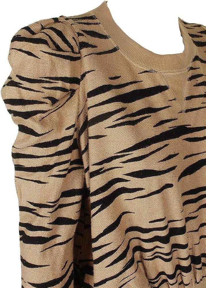 Free People Womens Zaza Zebra Print Crew Neck Sweatshirt