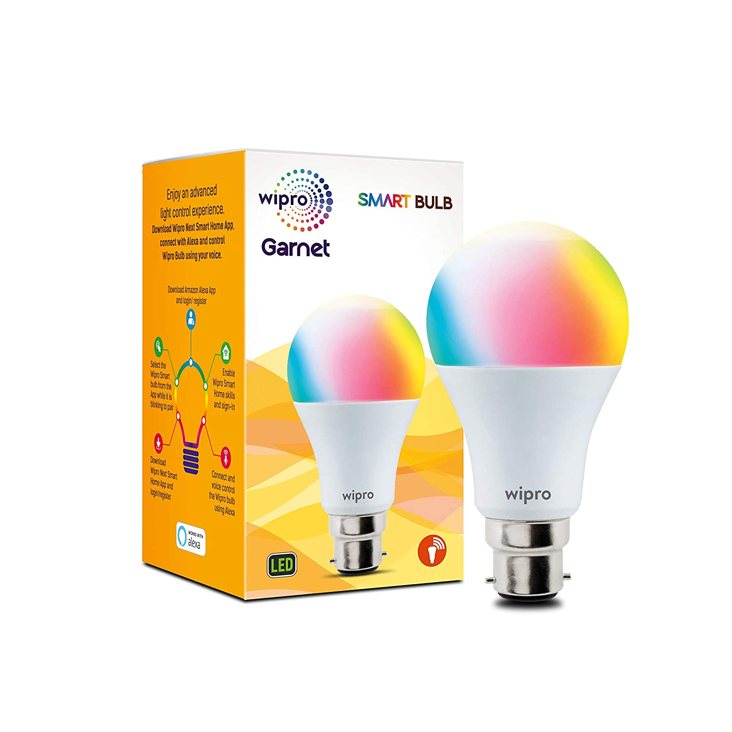 Wipro WiFi Enabled Smart LED Bulb B22 9-Watt (Compatible with Amazon Alexa and Google Assistant)
