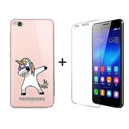 Funda Xiaomi Redmi 4A Swag Unicornio Suave Transparente TPU Silicona Anti-rasguños Protector Trasero Carcasa para Xiaomi Redmi 4A con Un Protector de ...