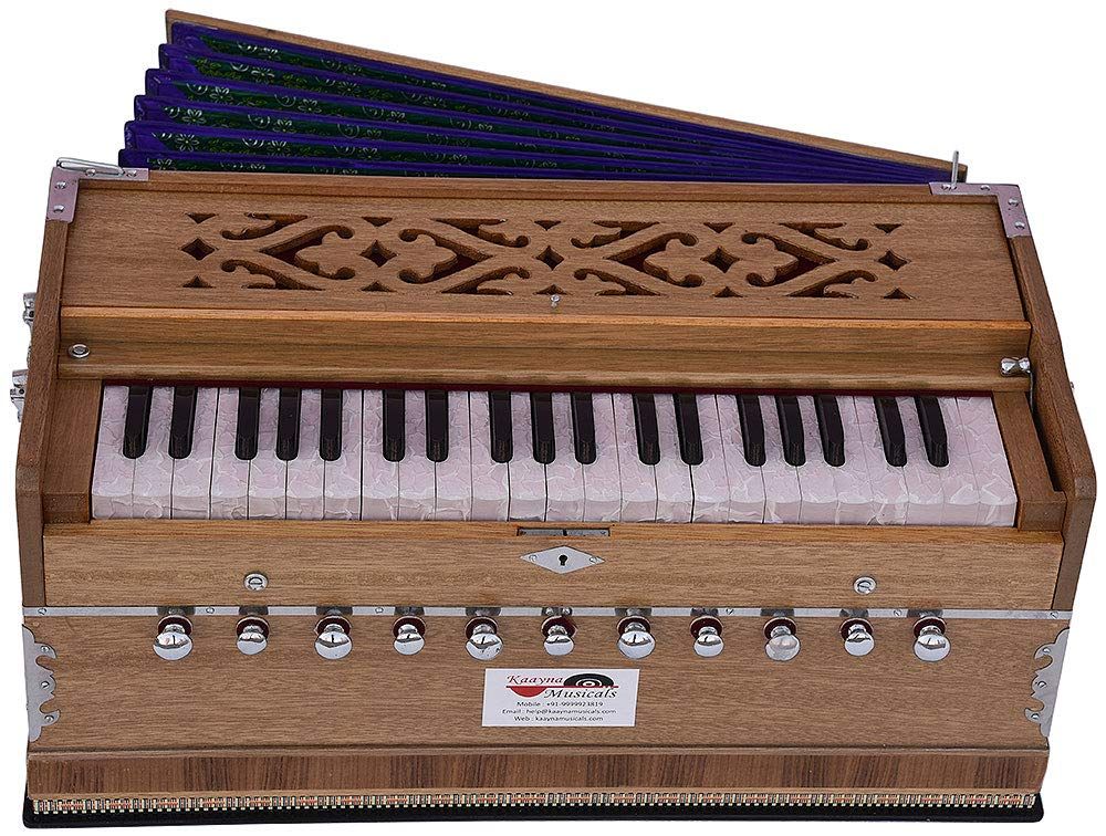 Harmonium Pro Grade By Kaayna Musicals, 11 Stop- 6 Main & 5 Drone, 3½ Octaves, Teak Colour, Flower Bellow, Coupler, Gig Bag - 440 Hz. Best for Yoga, Bhajan, Kirtan, Shruti, Mantra, Meditation, Chant by Kaayna Musicals (Image #7)