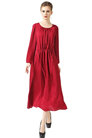 bcd41cc440b Image Unavailable. Image not available for. Color: VOA Women's Red Scoop  Neck Long Sleeve Silk Maxi Dress A6308