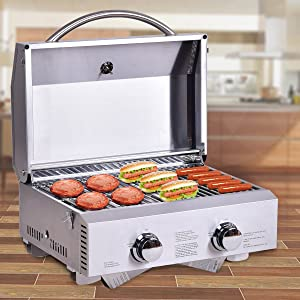 HAPPYGRILL Stainless Steel Propane Gas Grill, Portable Two-Burner BBQ Grill, Outdoor Grill with Foldable Leg for Camping Picnics, 20000 BTU