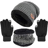 Yoklili Winter Knit Beanie Hat Neck Warmer Gloves Set, Fleece Lined Skull Cap Infinity Scarves Touch Screen Mittens for…