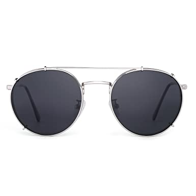 dbe1e36a74a Retro Round Polarized Sunglasses Clip on Flat Mirror Eyeglasses Men Women  (Sliver Grey)  Amazon.co.uk  Clothing
