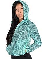 Adidas Womens Pattern Lightweight Windbreaker Jacket Aqua
