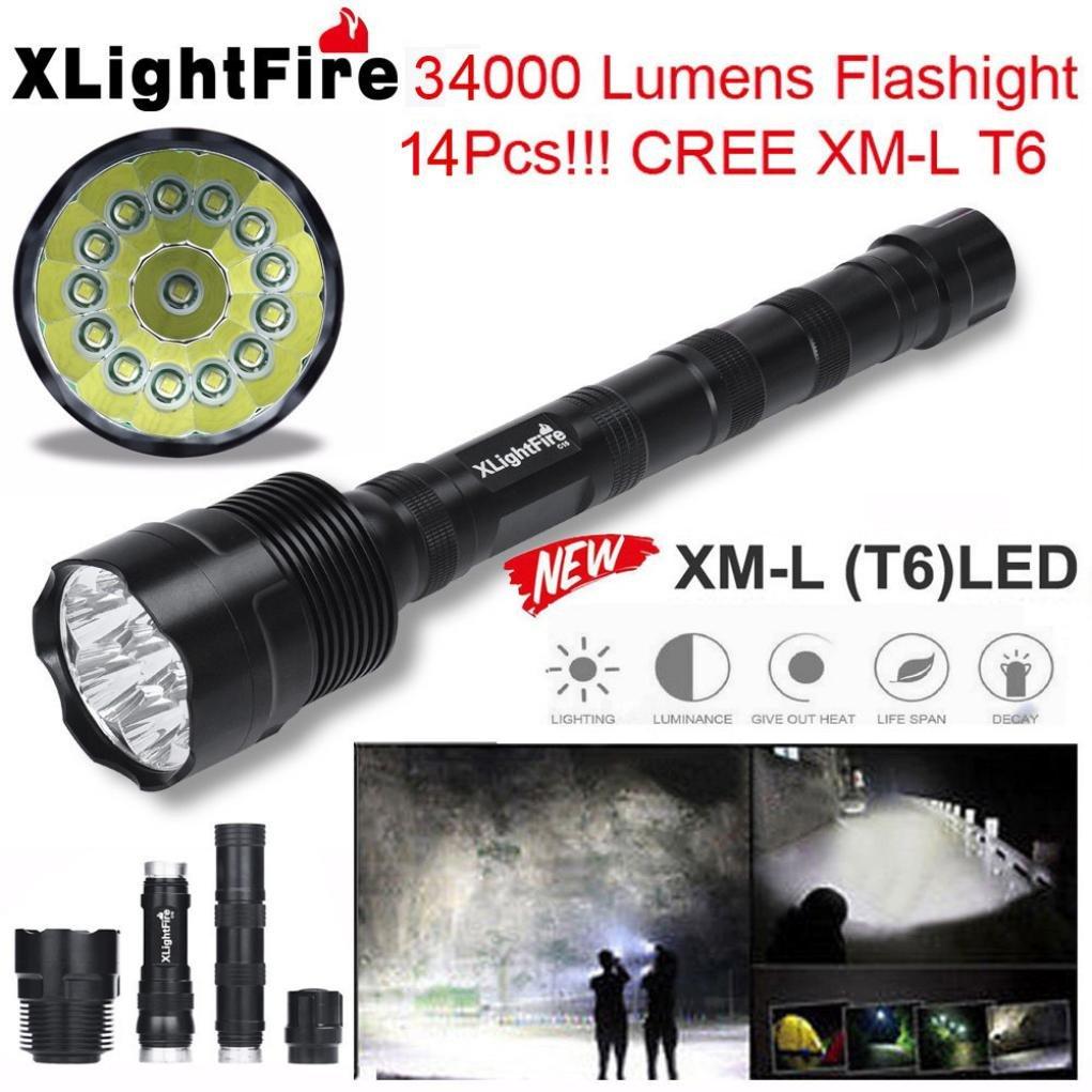 Linterna LED, Xinan XLightFire 34000 Lúmenes 14x CREE XML T6 5 Modo 18650 Linterna Negro Xinantime Xinantime_3439