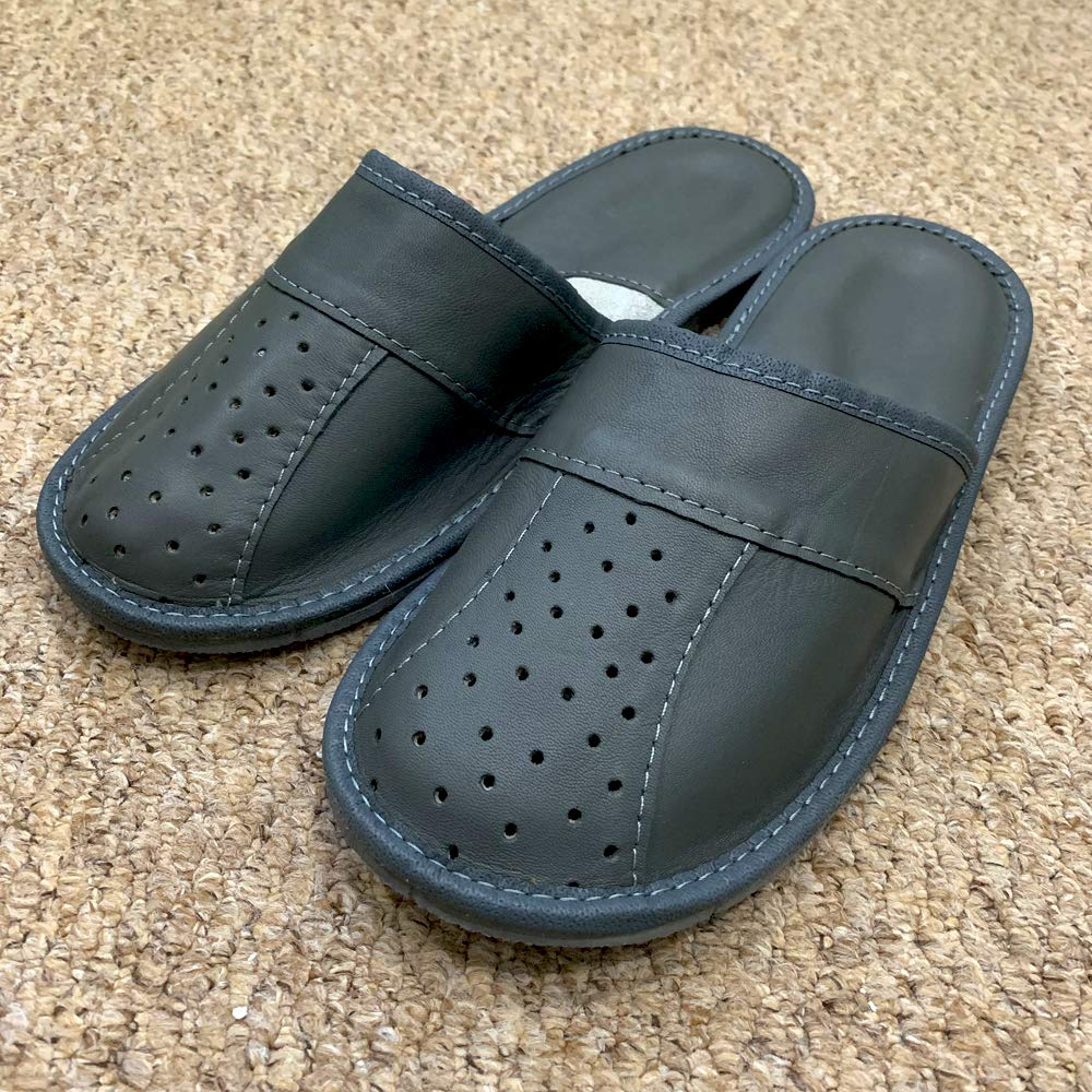 Solid Breathable Anti Slip Rubber Natural Leather Grey Mens Men inside outside slippers mules plus size 7 8 9 10 11 12 P8