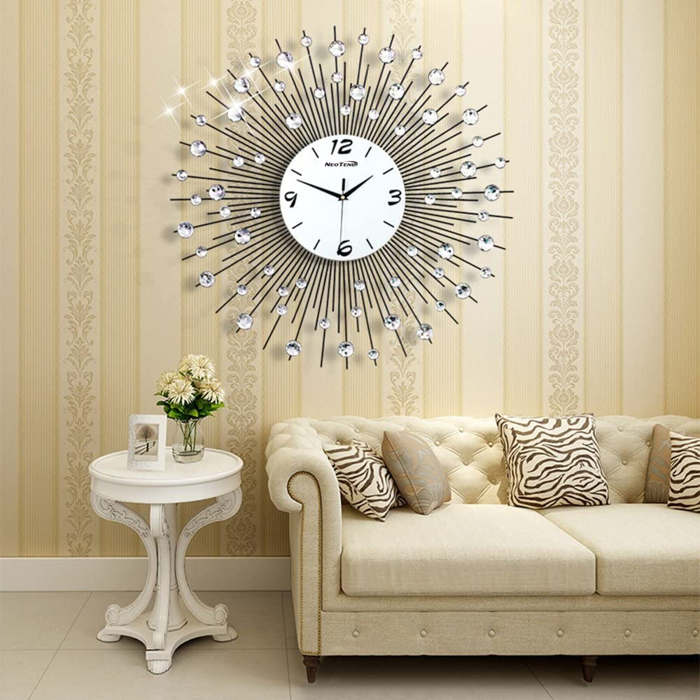 NEOTEND Large Decorative Wall Clock Non Ticking Modern Wall Clock for Living Room 3D Silent Clock