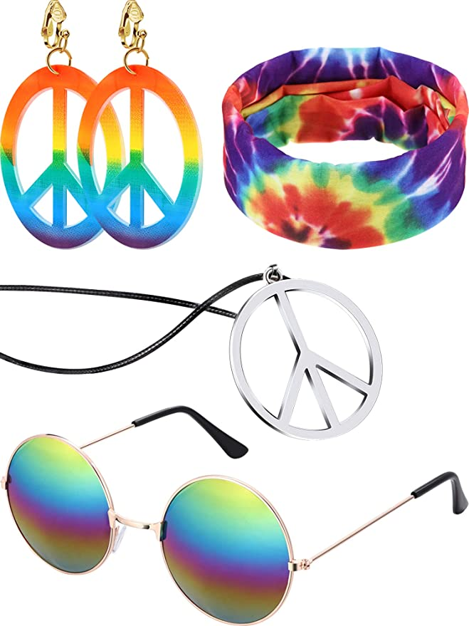 1960s Jewelry Styles and Trends to Wear 4 Pieces Hippie Costume Set Hippie Sunglasses Peace Sign Pendant Tie Dye Headband Bandana Peace Sign Earrings 60s or 70s Hippie Accessories $10.99 AT vintagedancer.com
