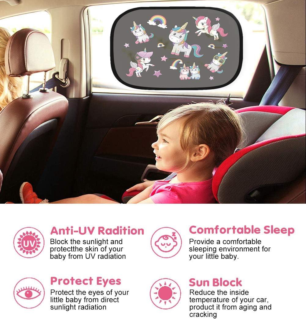 Pare-soleils pour vitres lat/érales auto Universelle protection solaire paresoleil de voiture avec auto adh/ésif PinkDeer Lot de 2 pare-soleil de voiture pour b/éb/é enfant avec anti les rayons UV