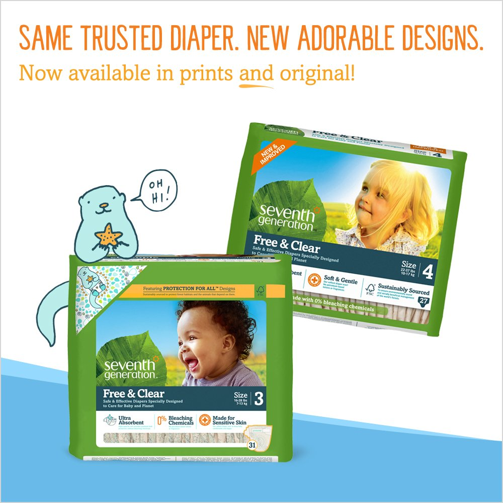 amazoncom seventh generation baby diapers free and clear for sensitive skin with animal prints size 1 160 count pack of 4 health personal care