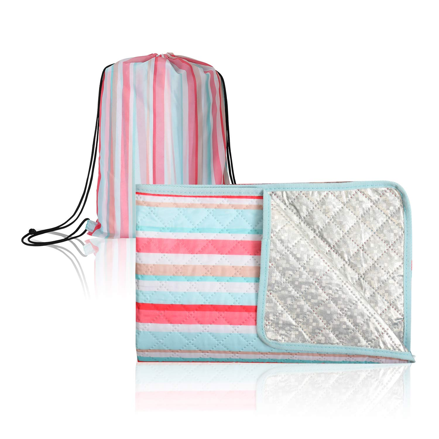 CALACH Extra Large Outdoor Picnic Blanket Waterproof Sand Proof Beach Camping Blanket Mat Indoor Family Blanket with Portable Carry Bag for Hiking Grass Travel Yoga Festival 57x79 Pink Green Stripe by CALACH