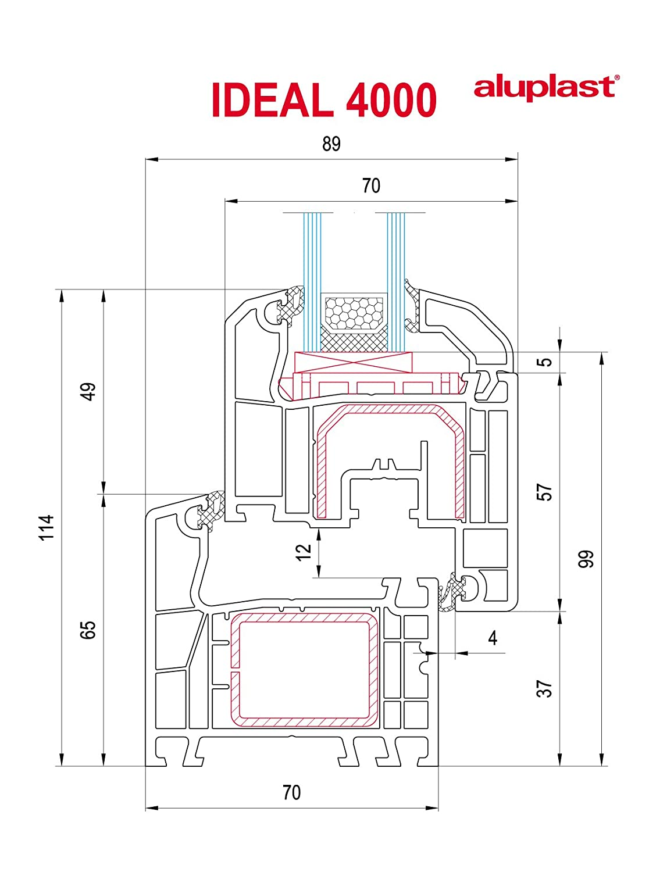 Ventana PVC Practicable Oscilobatiente Izquierda 700 ancho x 1000 alto 1 hoja