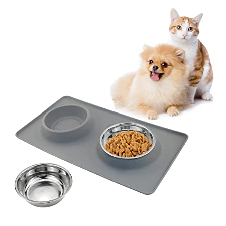 TedGem Silikon Napfunterlage für Hunde und Katzen, Hundenapf Fressnapf katzennapf Doppel Näpfe aus Edelstahl mit Rutschfest s