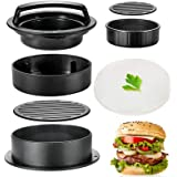 Hamburger Press Patty Maker, TAOUNOA 3 in 1 Non-Stick Burger Press for Making Delicious Burgers, Perfect Shaped Patties, for