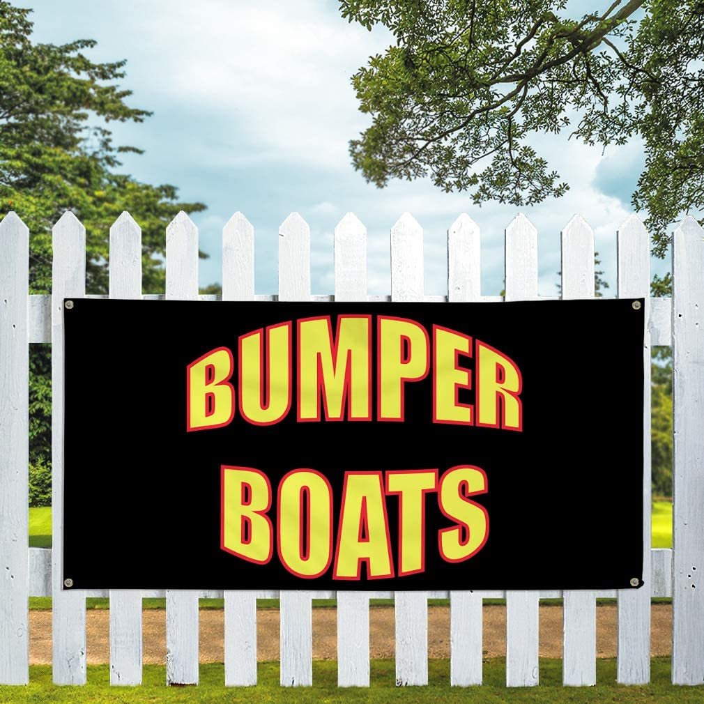Vinyl Banner Multiple Sizes Bumper Boats Outdoor Advertising Printing Business Outdoor Weatherproof Industrial Yard Signs 10 Grommets 60x144Inches