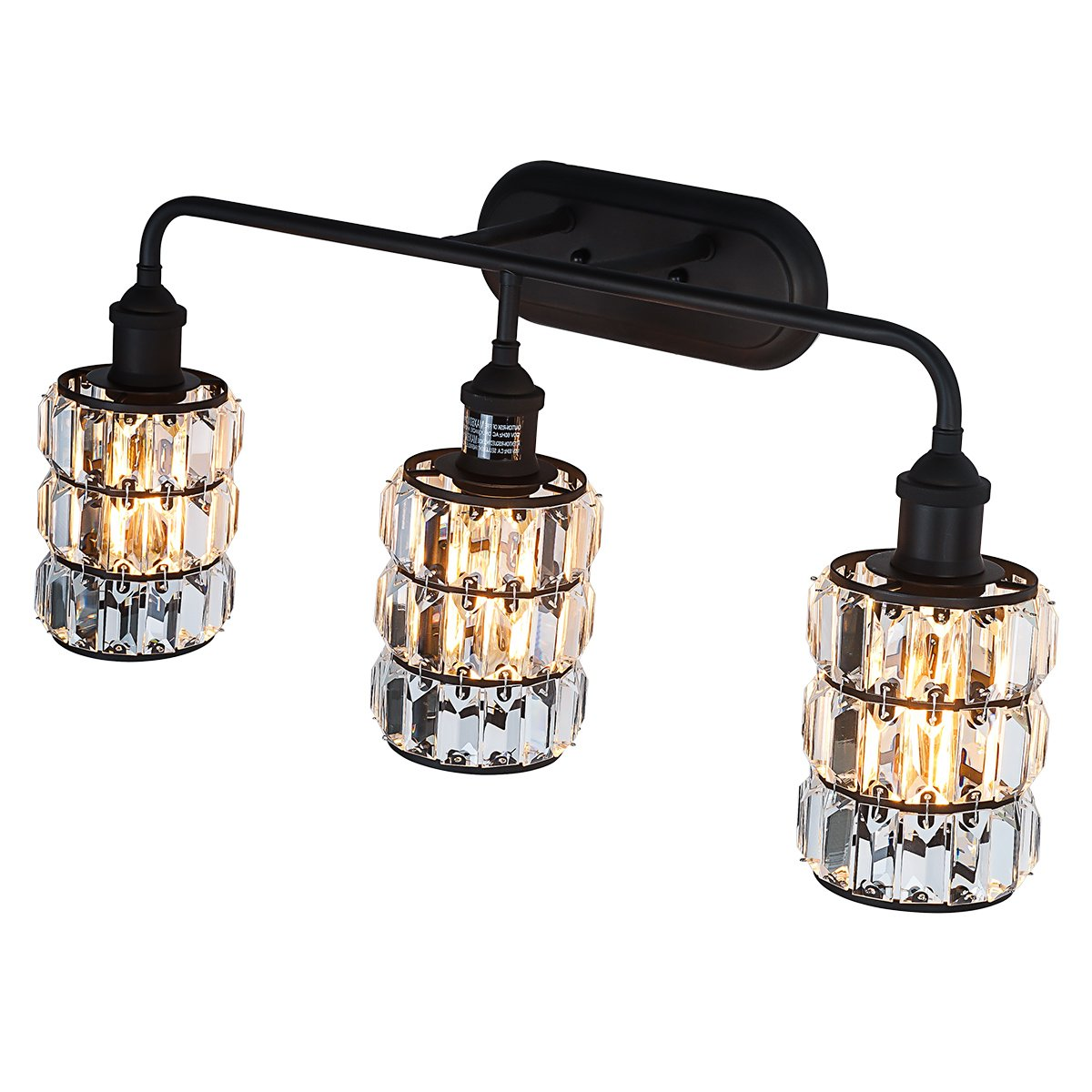 Lanros 3-Light Vanity Lighting, Bathroom Modern Wall Sconce Fixture with Crystal Prism Glass Oil Rubbed Bronze Triple Wall Mount Lamp for Living Room, Bedroom, Hallway, Kitchen