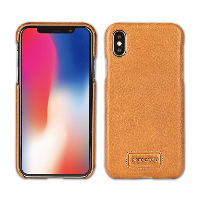 best service b2817 f1476 iPhone X Case, Pierre Cardin Premium Genuine Cow Leather with New Slim  Design Hard Case Cover Fit for Apple iPhone X (Saddle Brown)