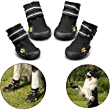 Royalcare Protective Dog Boots, Set of 4 Waterproof Dog Shoes for Medium and Large Dogs - Black (5#)