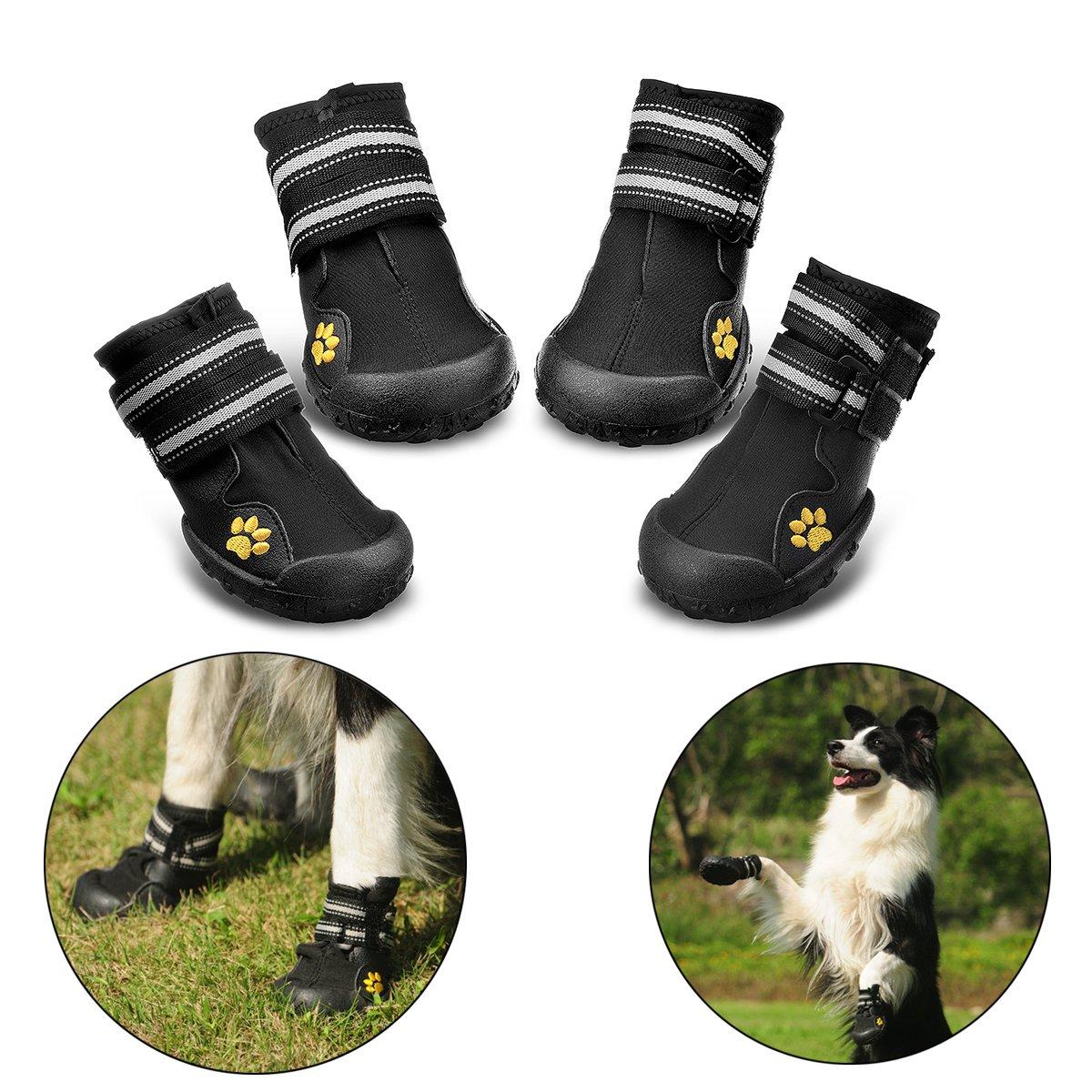Bottes pour chien de protection, Royalcare Lot de 4étanche Chaussures de chien pour chiens de taille moyenne et grande–Noir