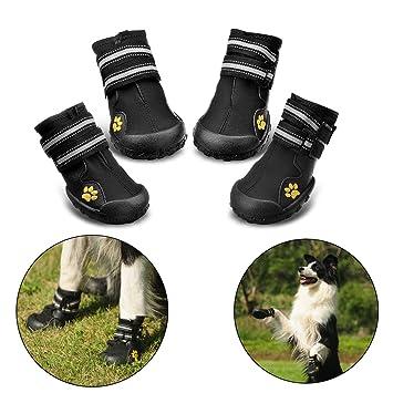DUPET Botas de perro Paws Protector Impermeable Zapatos de perro Snoe Botas Zapatos con Tiras Reflectantes Djtudc5dT