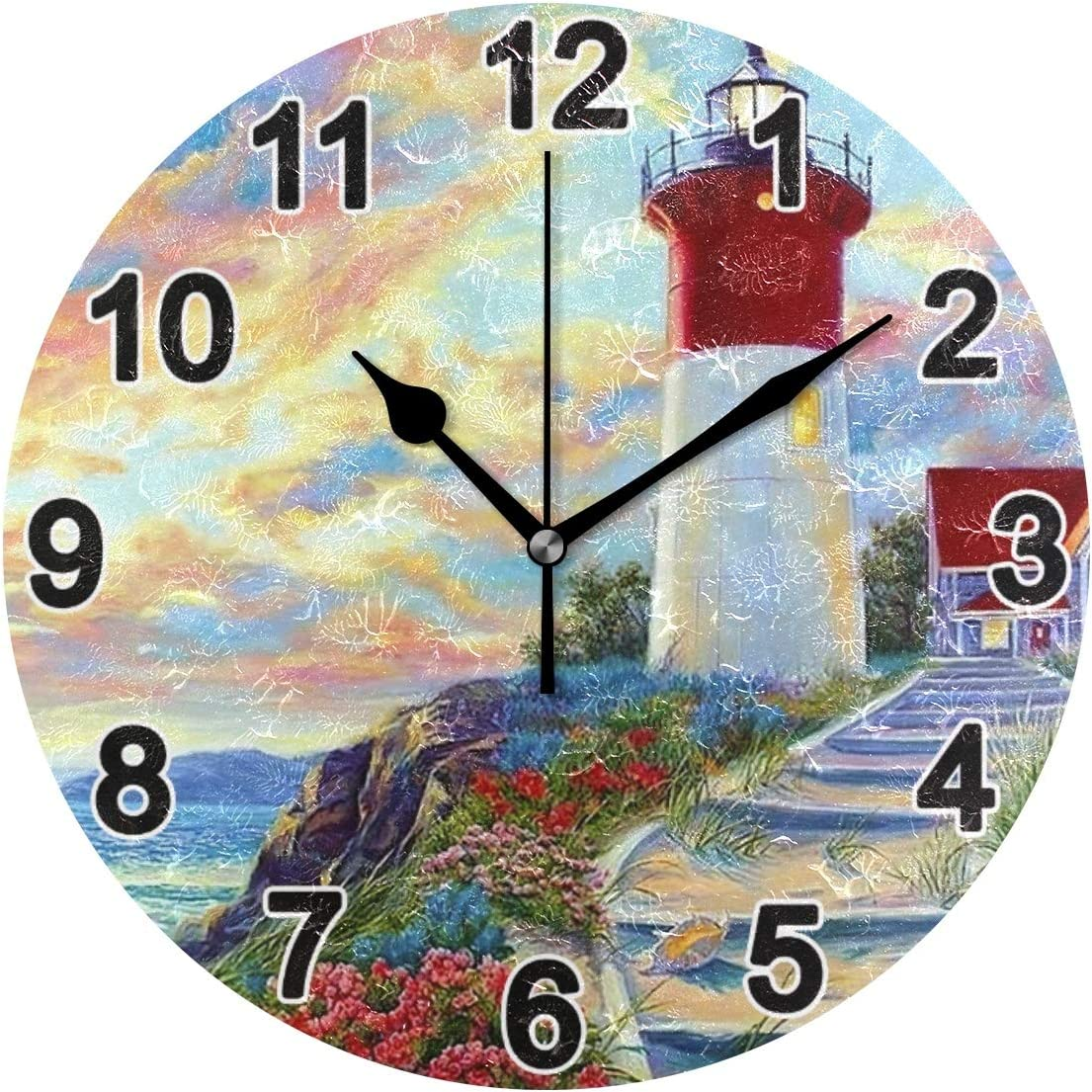 CHSIN Oil Painting Lighthouse Wall Clock Non Ticking for Girl Boy Bedroom 9.8 Inch Acrylic Clock for Bathroom Kitchen Living Room Office School 2120008