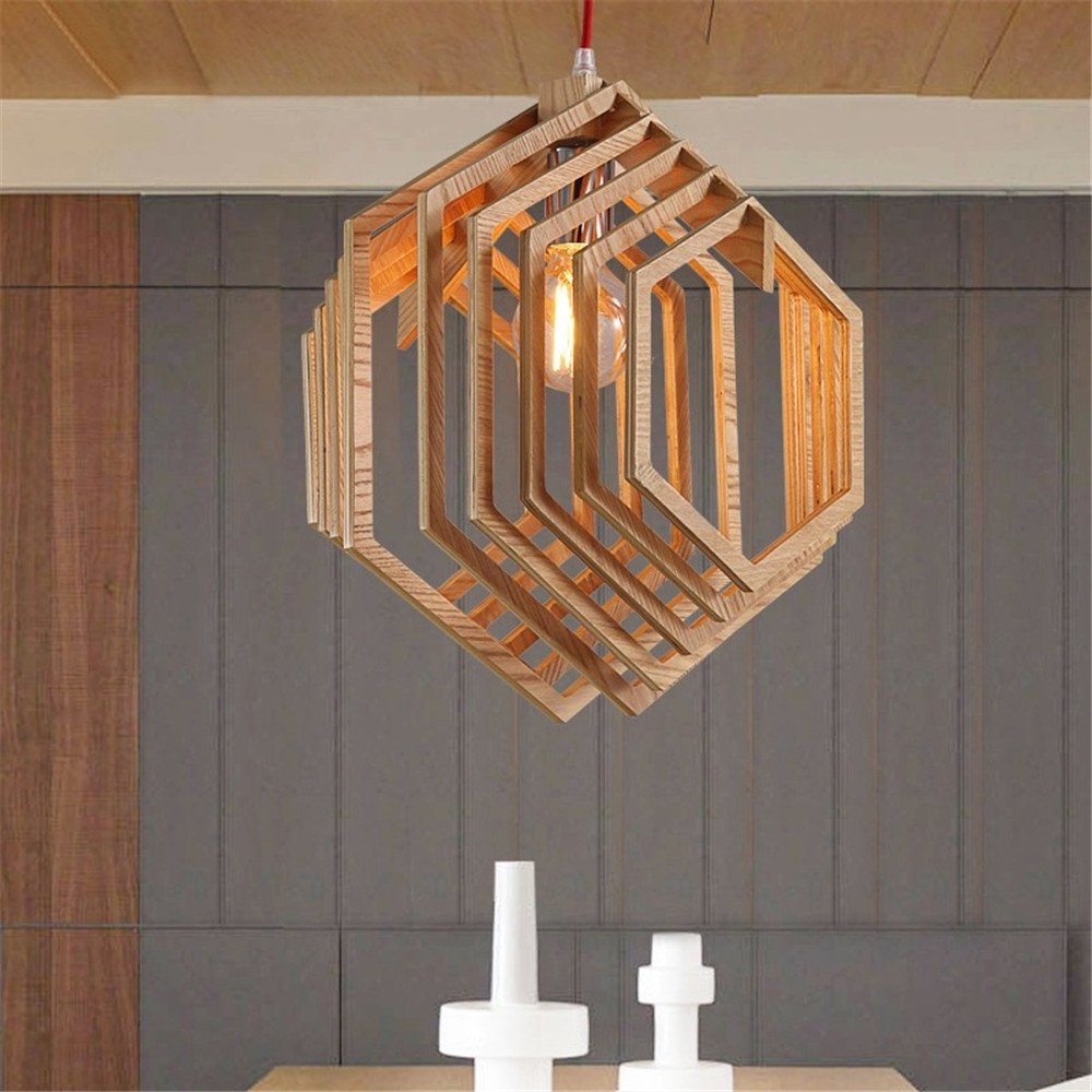 Simple Modern 1 Head Wooden Pendant Light Creative Dining Room Bedroom Ceiling Light Home Decoration Indoor Geometry Shape Chandelier ,3439cm by NOHOPE-Chandeliers