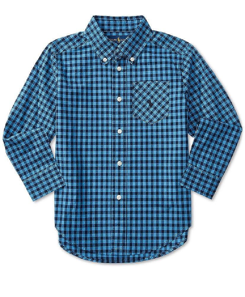 blue navy Ralph Lauren LIttle Boys Long-sleeve Plaid Shirt