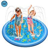 "Leccod Sprinkle Pad & Splash Play Mat, 68"" Outdoor Sprinkler Pad for Boys Girls, Sprinkler Water Mat with Turtle, Dolphin, Snails, Starfish, Crab, Small Fish Graphics (68, Blue)"