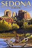 Sedona, Arizona - Cathedral Rock and Cairn (9x12 Art Print, Wall Decor Travel Poster)