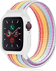 Nylon Sport Band with Case Compatible with Apple Watch Band 44mm 42mm 40mm 38mm, Protective Silicone Bumper Case with Nylon Sport Loop Strap for Series 6/5/4/3/SE for Kids Women Men, Rainbow