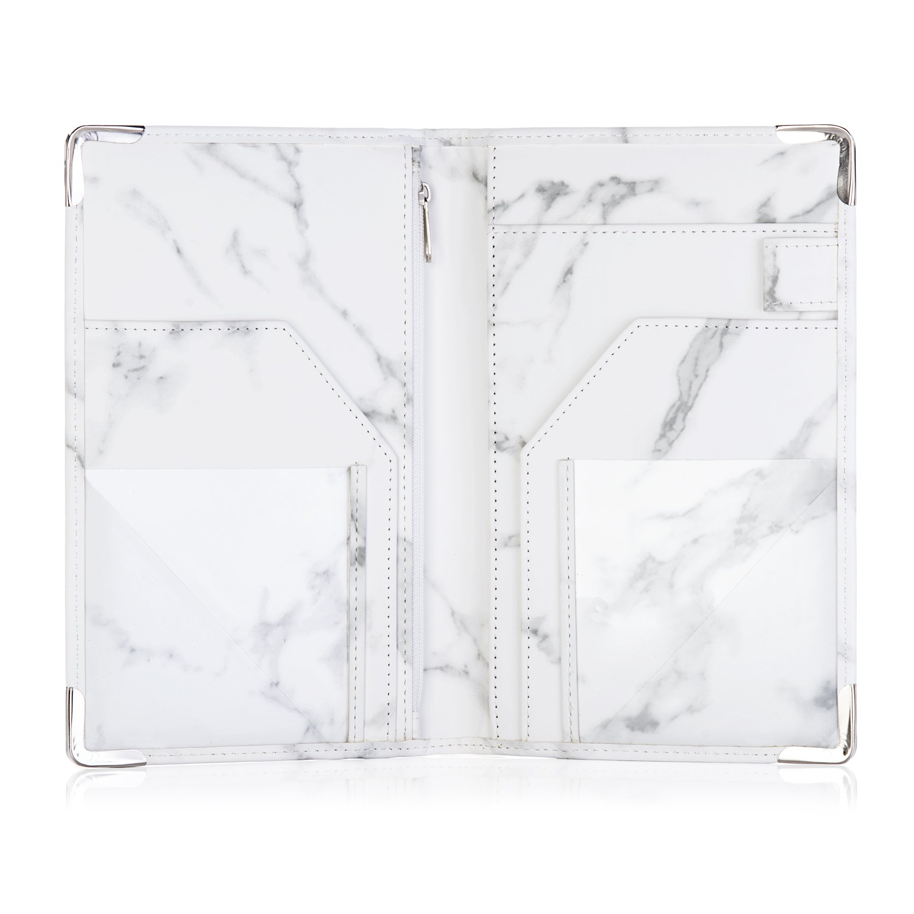 Sonic Server Marble Style Deluxe Server Book for Restaurant Waiter Waitress Waitstaff   Classy White Marble   9 Pockets includes Zipper Pouch with Pen Holder   Holds Guest Checks, Money, Order Pad by Sonic Server (Image #3)