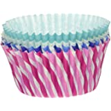 Swirl Premium Greaseproof Cupcake Paper Liners No Muffin Pan Needed Cupcakes Papers 64 Count - Light Blue, Pink, Navy Blue