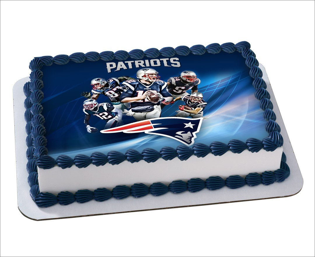 New England Patriots Football Nfl Edible Cake Image Cake Topper