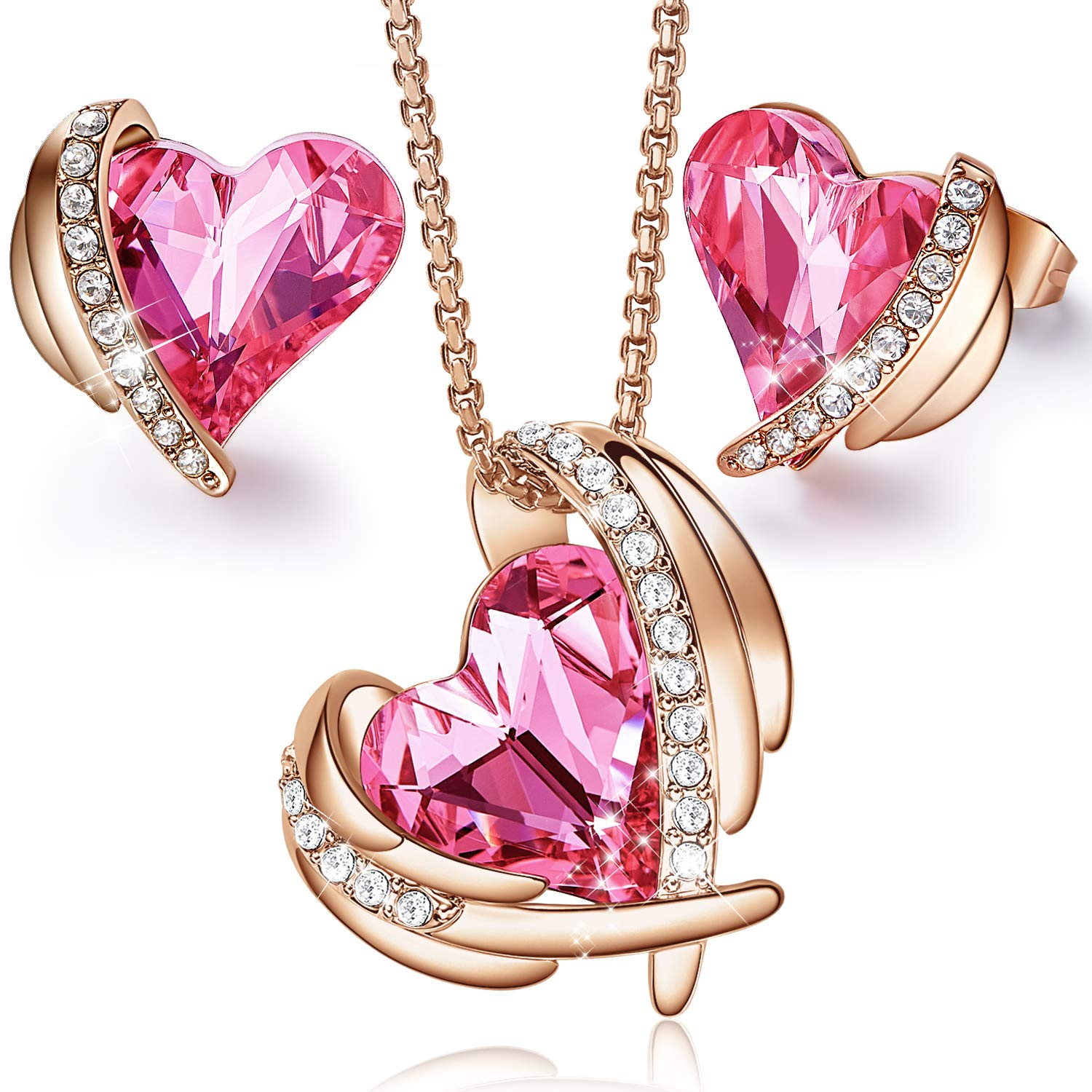 CDE ''Pink Angel 18K Rose Gold Plated Pendant Necklaces Women Embellished with Crystals from Swarovski Necklace Heart Jewelry Fashion for Her, Gift for Mothers Day(Pink-(Small Size))