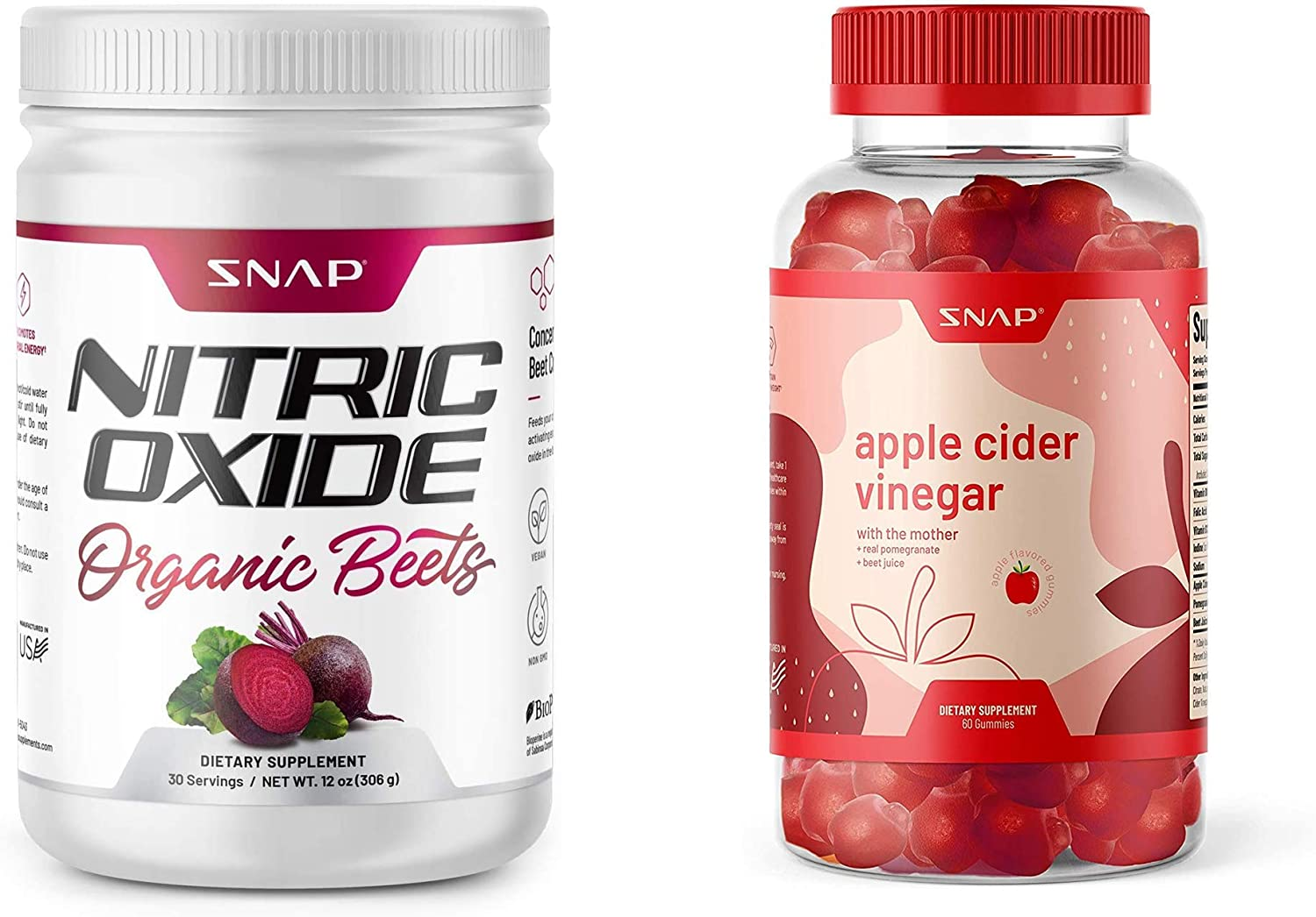 Nitric Oxide Beets by Snap Supplements + Apple Cider Vinegar ACV Gummies with The Mother - Immune Booster, Detox, Cleanse & Weight Management
