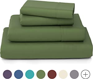 Cosy House Collection Luxury Bamboo Bed Sheet Set - Hypoallergenic Bedding Blend from Natural Bamboo Fiber - Resists Wrinkles - 4 Piece - 1 Fitted Sheet, 1 Flat, 2 Pillowcases - Cal King, Sage Green