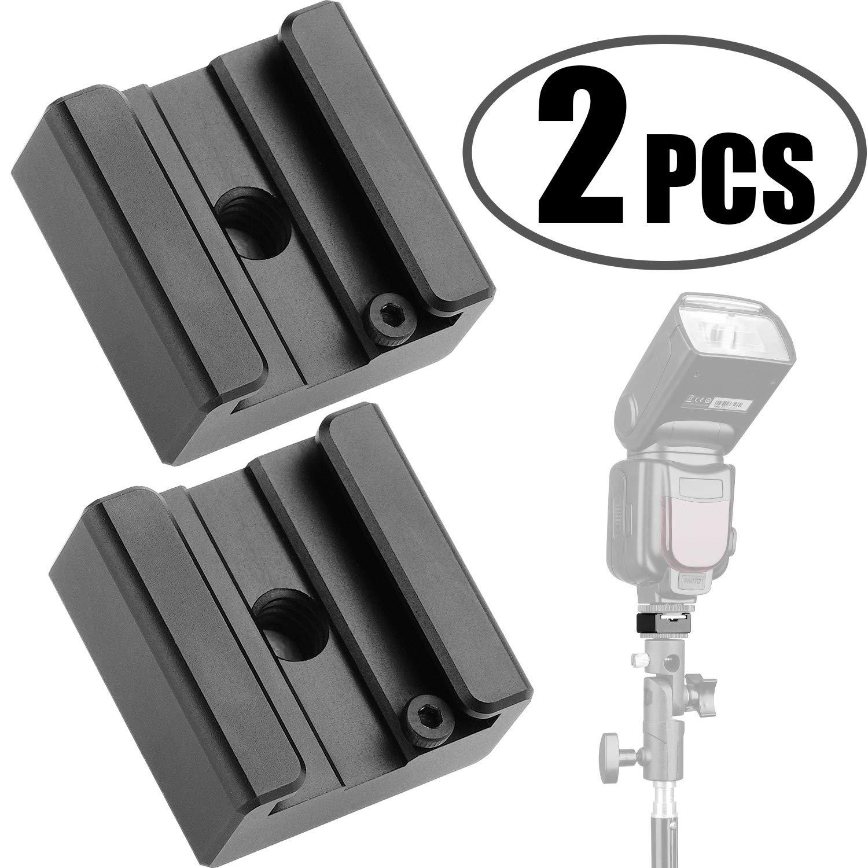 カメラホットシューマウント 1/4インチ-20三脚ねじアダプター フラッシュシューマウント デジタル一眼レフカメラリグ用 (2個パック) B07MZJRTH4 2Pack Flash Cold Shoe